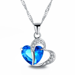 Necklace Heart-shaped Zircon Crystal Necklace Chain Clavicle Women Heart Rhinestone Pendant Jewelry 3# One Size