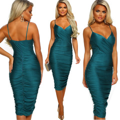 Sexy Condole Belt Sleeveless Slim Party V-neck Dress Women Office Bodycon Pencil Dresses Vestidos M Green