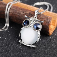 New Style Charmant Women Necklace Owl Pendant Rhinestone Sweater Chain Jewelry Ornaments Exquisite White One Size