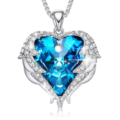 Crystals Swarovski Necklaces Fashion Jewelry Women Pendant Blue Rhinestone Heart Angel Lover Gifts Blue one size