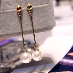 Star The Same Paragraph Fashion Imitation Pearl Tassel Earrings Jewelry Female Long Section Vintage Golden one size
