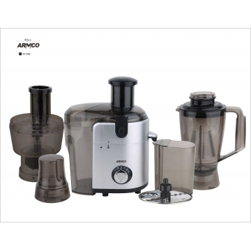 ARMCO Food Factory: 6-in-1 Juicer, Blender, Grinder, Mincer, Slicer, Shredder, Mill, (AJB-1000GC), Silver & Black