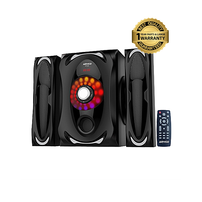 ARMCO - 2.1 Ch 4500W PMPO SubWoofer Bluetooth Speaker ( USB, SD, FM Radio ) Black 90w + 18wx2 r.m.s AHT-6565