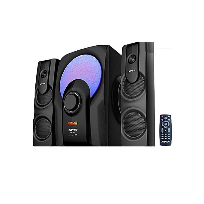Armco - 2.1 Ch 5000W PMPO SubWoofer Bluetooth Speaker (USB/SD/FM) black 130w + 18wx2 r.m.s AHT-8075