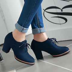 Women Shoes Lace Bundle Round Toe Thick Heel Shoes ComFOR HHBCDGX Blue 36