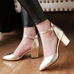 Women Shoes Fashion Block Heel Ankle Strap Closure Bright Colors ComFOR HHSBLLS gold 37