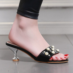 Women Shoes High Heel Slippers Beads Decor ComFOR SYNPLSL black 36