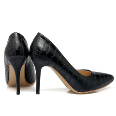 Women Shoes Checkered Texture Design High Heel Shoes ComFOR HHSEYUP black 36