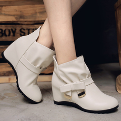 Women Shoes Round Toe Wedge High Heel Ankle Boots ComFOR HHBBKDH beige 34