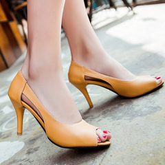 Women Shoes Open Toe Side Hollow Out Design High Heel Shoes ComFOR SHGOTSC yellow 35