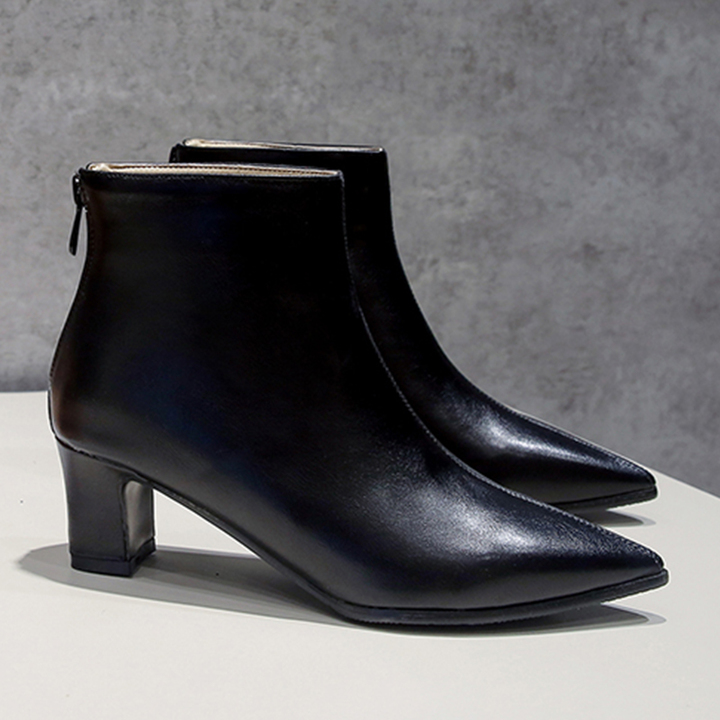8fc22d64008 Women Shoes Ankle Boots Point Block Heel Rear Zip ComFOR BASPTCS black 35