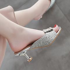 Women Shoes High Heel Slippers Glittered Upper Rhinestone Decor ComFOR SYNFKLP silver 41