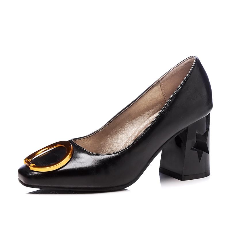 fd884e1352e Women Shoes Square Toe Star See Thru Block High Heel Ring Decor ...