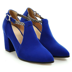 Women Shoes Point Toe Thick Heel Decorated Ankle Band Design ComFOR HHHCSAD blue 34