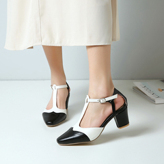 Women Shoes Thick Heel T Band Joint Colors Sandals ComFOR HXAZBCG white 38