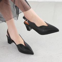Women Shoes Plus Size Point Toe Thick Heel Curve Cut Design ComFOR SASCCJC black 36