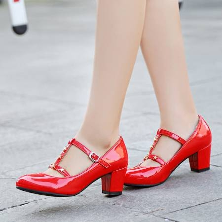 c17ce831360 Tick buckle With a thick heel with a single shoe Red wedding shoes  Pseudo-mother pink 40