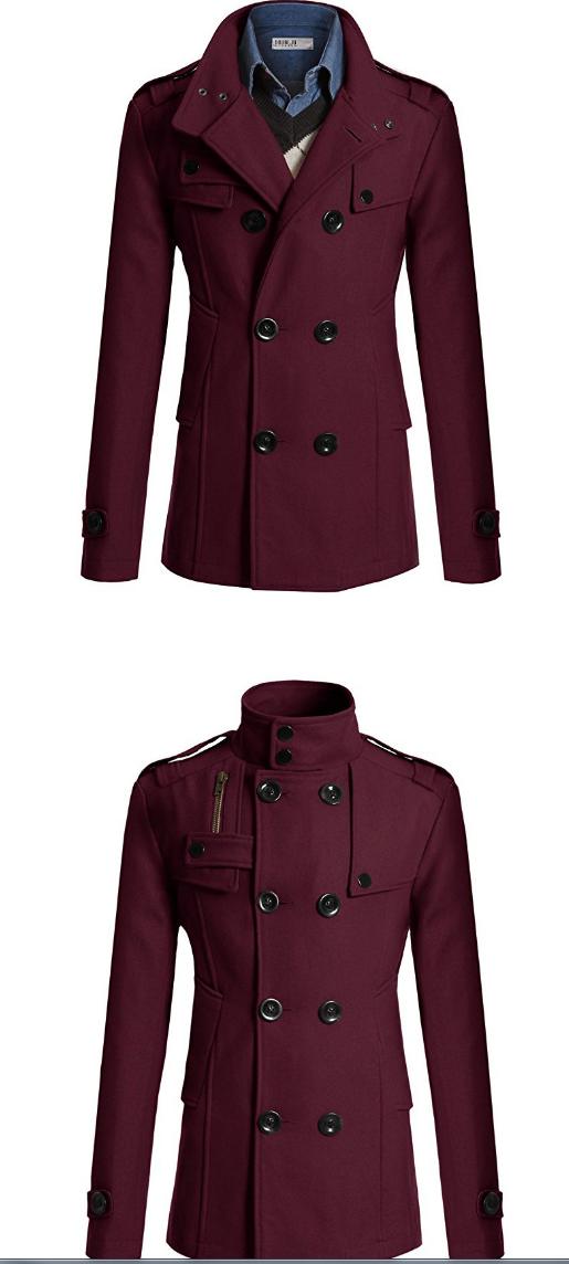 bec8a0b9c Mens Jacket Long Trench Coat New Slim Woolen Coat Autumn Jackets Men  Windbreaker Business Clothin red XL