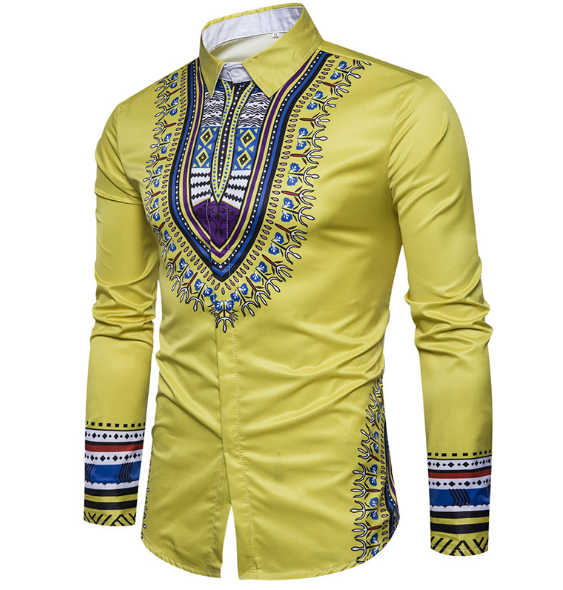 4173d9fd7346 African Country 3D Print Shirt Men s Casual Men s Shirt Youth National  Vintage Slim Long Sleeve yellow