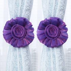 FH 1 Pair Creative High-gradeCloth Rose Flower Window Curtain Tieback Clip-on No Need Drilling Purple 60cm