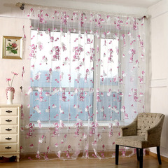 FH Cute Bear Yarn Tulle Breathable Curtain For Bedroom Livingroom Divides Room Scarf Sheer Curtain White 100*250cm two panel