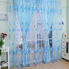 FH Simple Style Tulip Yarn Tulle Curtain Room Divider Sheer Curtain For Bedroom Livingroom Bathroom Blue 100*200cm A Panel