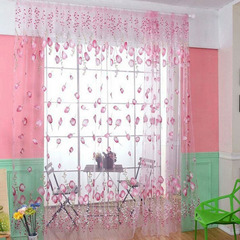 FH Simple Style Tulip Yarn Tulle Curtain Room Divider Sheer Curtain For Bedroom Livingroom Bathroom Pink 100*200cm A Panel