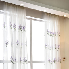 FH Embroidery Lavender Pattern Yarn Tulle Curtain For Livingroom&Bedroom Room Divide Curtain Sheer Purple 100*280cm A Panel