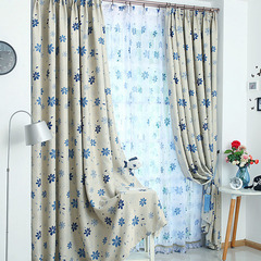 FH Seven Leaf Grass Simple Style Shade Curtain For Bederoom Livingroom Hotel Sitting Room Curtain Blue 100*270cm A Panel