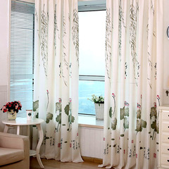 FH Chinese Style Pure Fresh Style Water Lily Pattern Window Shade Curtain For Livingroom Bedroom White 100*200cm A Panel