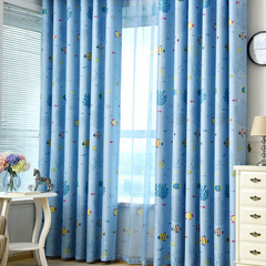 FH Creative Cute Undersea World Pattern Blackout Curtain For Livingroom Bedroom Student Dormitory Blue 100*270cm A Panel