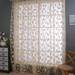 FH Romantic Simple Style Embroidery Leaf Yarn Tulle Curtain For Livingroom Room Divide Sheer Curtain Beige 100*270cm A Panel