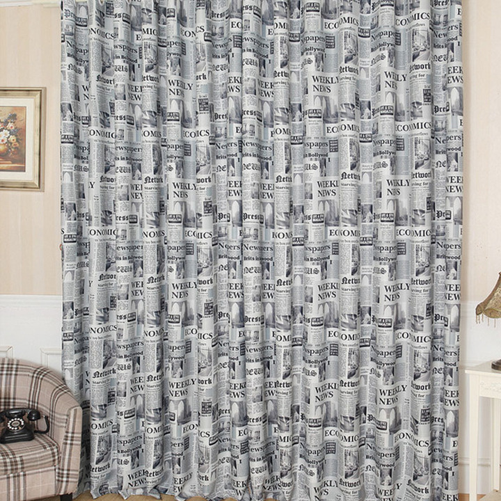 FH Retro Style One Side Newspaper Pattern Window Shade Blackout Curtain For Livingroom Bedroom Gray 100