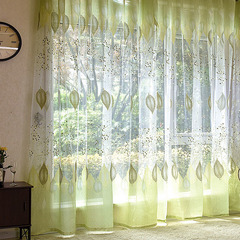 FH Romantic Simple Style Leaf Pattern Yarn Tulle Curtain For Livingroom Room Divider Sheer Curtain Green 100*250cm A Panel