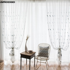 FH Pure And Fresh Style Sheer Curtain Panel Bedroom-Home Decor Feather Embroidery Sheer Curtain White 100*250cm A Panel