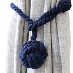 FH Curtain Tiebacks - Natural Cotton Curtain Rope Tieback Handmade Rural Decorative Curtain Holdback Blue 65cm