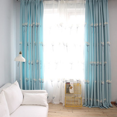 FH Pastoralism Style Dandelion Pattern Cotton Window Shade Blackout Curtain For Livingroom Bedroom Blue 100*250cm A Panel