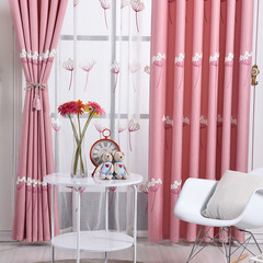 FH Pastoralism Style Dandelion Pattern Cotton Window Shade Blackout Curtain For Livingroom Bedroom Pink 100*250cm A Panel