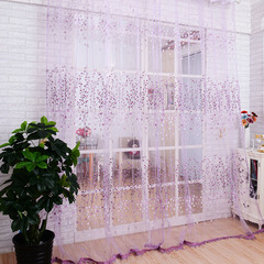 FH Simple Style Plum Blossom Pattern Yarn Tulle Curtain For Livingroom Room Divider Sheer Curtain Pink 100*270cm A Panel