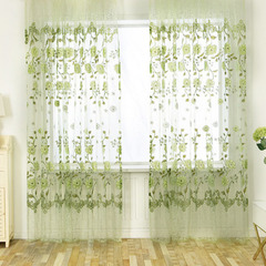 FH Pastoralism Peony Pattern Yarn Tulle Curtain For Livingroom Bedroom Room Divider Sheer Curtain Green 100*270cm A Panel