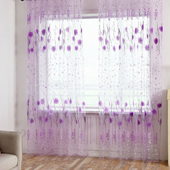 FH Pastoralism Style Flower Pattern Yarn Tulle Curtain For Livingroom Room Divider Sheer Curtain Purple 100*270cm A Panel