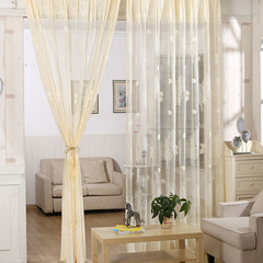 FH Embroidery Tree Leaf Pattern Yarn Tulle Curtain For Livingroom Bedroom Room Divider Sheer Curtain Beige 100*270cm A Panel
