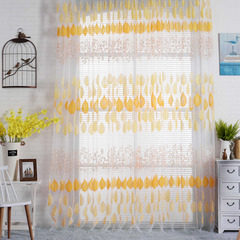 FH Pastoralism Style Tree&Leaf Pattern Yarn Tulle Curation For Livingroom Room Divider Sheer Curtain Yellow 100*270cm A Panel