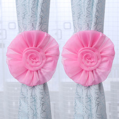 FH 1 Pair Creative High-gradeCloth Rose Flower Window Curtain Tieback Clip-on No Need Drilling Pink 60cm