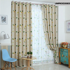 FH Simple Style One Sided Pattern Shade Curtain For Livingroom Bedroom Sitting Room Curtain Yellow 100*250cm A Panel