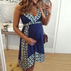FH Women's Short Sleeve Maternity Dress Condole Belt Ruched Nursing Dress Breastfeeding Clothing Blue L