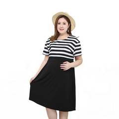 FH Maternity Dress Round-Neck Summer Dress Plus-size Maternity Dress Breastfeeding Dress Black 2xl