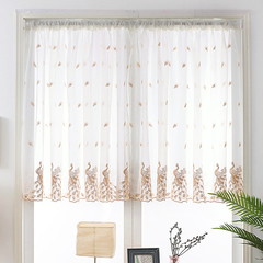 FH 1 PC The Peacock Pattern Short Sheer Curtain Flat Window Pastoral Style Plaid Yarn Tulle Curtains Brown 100*120cm a panel