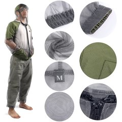 OUTAD Outdoor Lightweight Anti-Mosquito Suit Portable High Density Net Yarn green & grey M