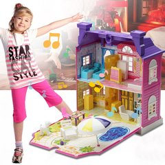 Doll House With Furniture Miniature House Dollhouse Assembling Toys For Kids Purple Standard Edition